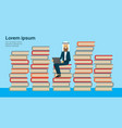 arabic businessman sit with laptop on books stack vector image vector image