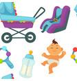 baby newborn kid and pram perambulator seamless vector image vector image