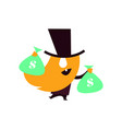 banker man with bags of money vector image vector image