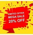 Big sale poster with LIMITED OFFER MEGA SALE 20 vector image vector image