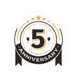 birthday vintage logo template 5 th anniversary vector image vector image