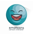 blue emoticon laughing closed eyes icon vector image vector image