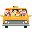 Boys and girls riding in taxi vector image vector image