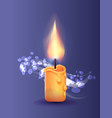 burning candle in realistic design icon vector image vector image