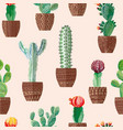 cactus in pots seamless beige background vector image