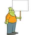 cartoon zombie holding a sign vector image vector image
