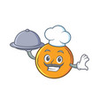 chef with food orange fruit cartoon character vector image