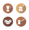 coffee brewing equipment flat design long shadow vector image