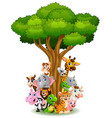 collection animal stand around tree vector image vector image