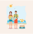 couple of tourist together on a trip world travel vector image vector image
