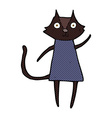 cute comic cartoon black cat waving vector image vector image