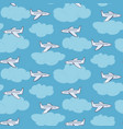 cute white planes in the sky with clouds pattern vector image vector image