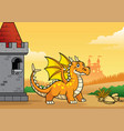 dragon and castle with cartoon style vector image