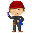 Electrician wearing safety hat vector image vector image