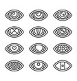eye icons set on white background line style vector image vector image