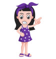 girl is pointign with fingers on white background vector image vector image