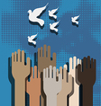 Hands and doves vector image vector image