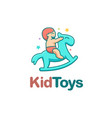 happy kid playing with rocking horse cartoon logo vector image