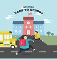 happy students running to school with school bus vector image