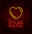 heart and love text on neon sign on brick wall vector image