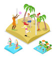 isometric outdoor beach volleyball surfing vector image vector image