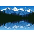 lake near the pine forest in mountains vector image
