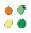 lemon lime orange and watermelon flat icon set vector image