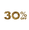 luxury golden glitter thirty percent off special vector image vector image