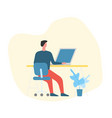 man working from home at his laptop vector image vector image