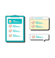 marked checklist on a clipboard and in browser vector image vector image