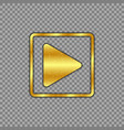 metallic gold plated play button scratched worn vector image