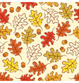 oak leaves and acorn seamless pattern vector image