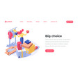 online store choice isometric landing page vector image vector image