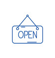 open inscription line icon concept open vector image