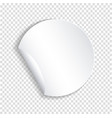 round paper sticker template with bent edge with vector image