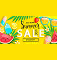 sale banner with symbols for summer time vector image vector image