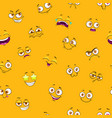 seamless pattern with funny cartoon faces on vector image