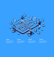 social media isometric infographic with characters vector image