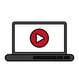 video play icon on laptop screen icon image vector image vector image