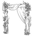 wooden wedding arch decorated with roses vector image vector image