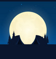camping silhouette banner with moon on the night vector image