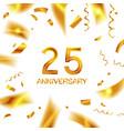 25th gold anniversary celebration vector image
