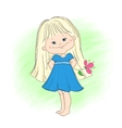 a cute little girl with flower vector image vector image