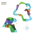 Abstract color map of Kuwait vector image