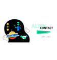 alien contact - colorful flat design style web vector image