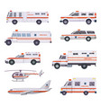 ambulance cars health rescue service vehicle van vector image