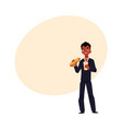 black african businessman eating sandwich holding vector image vector image