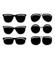 black glossy sunglasses and glasses set icons vector image