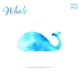 Blue Whale Watercolor whale vector image vector image