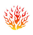 bright fire flame in cartoon bonfire hot tattoo vector image